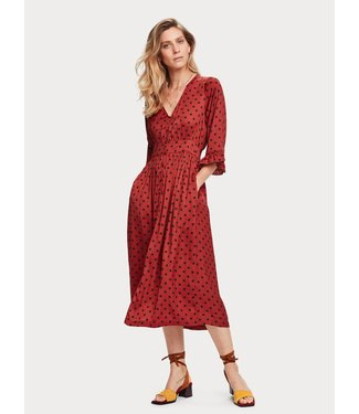 Maison Scotch 155982 Midi length v-neck dress with ruffles