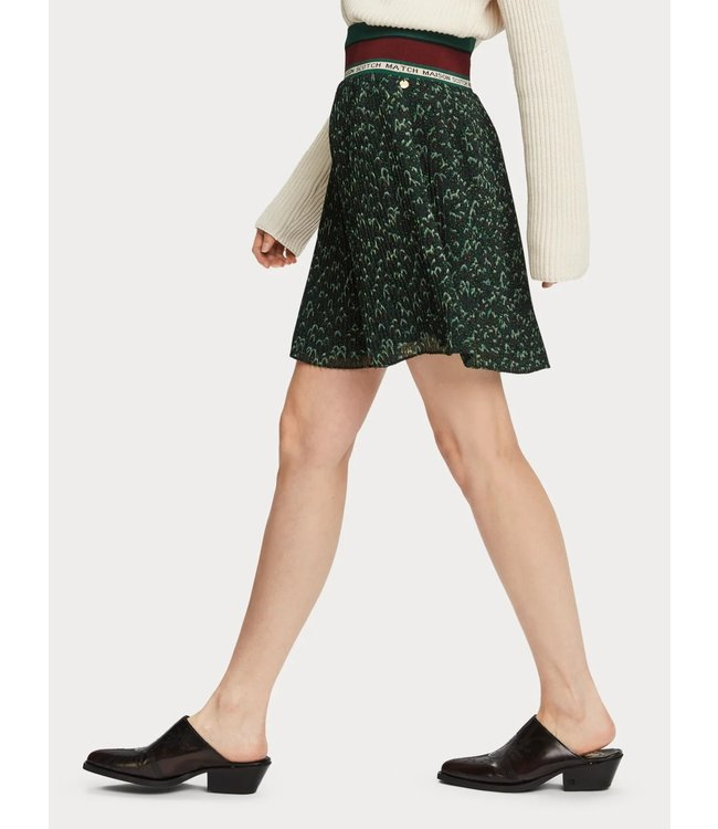 Maison Scotch 156008 Pleated skirt with ribbed waistband