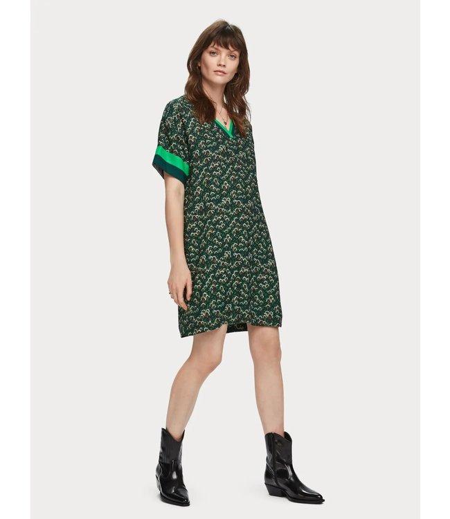 Maison Scotch 155981 Printed short sleeve dress with colourblock details