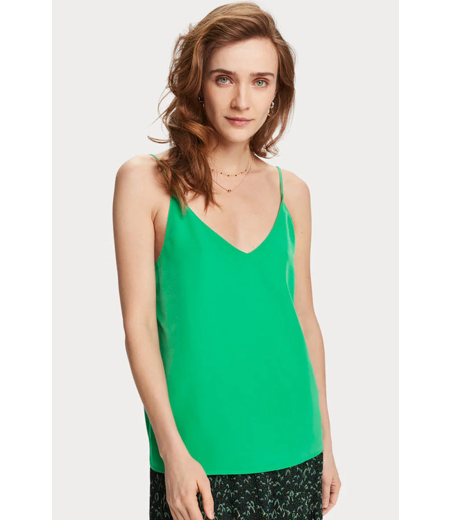 Maison Scotch 156239 Printed jersey tank top with woven front panel.