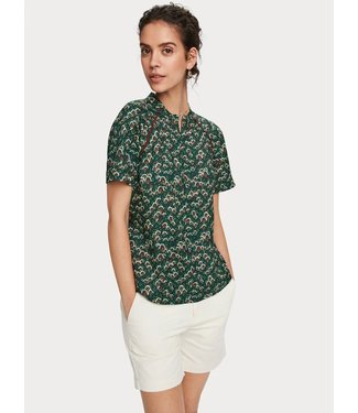 Maison Scotch 157404 Printed top with piping detail
