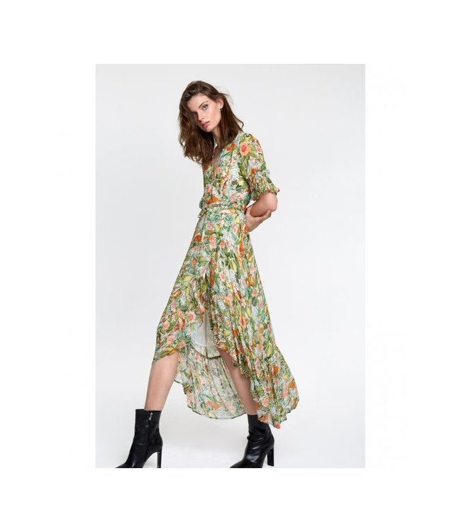 Alix the Label 203381575 ladies woven botanical wrap dress