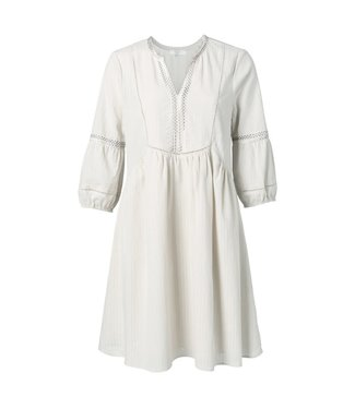 Yaya 1801101 Cotton A-line dress with ruching and puff sleeves