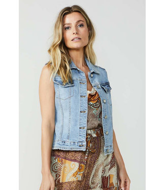Summum Woman 9s080-5047Denim gilet Japan denim ultra bleach