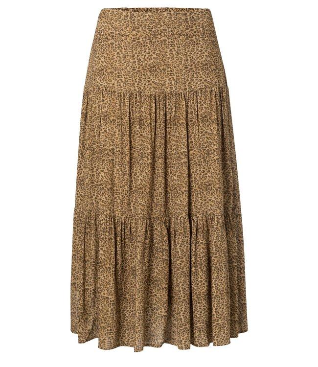Yaya 140198-020 Layered A-line mide skirt with animal print
