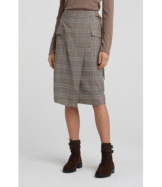 Yaya 1401110-022 Faux wrapped midi skirt with checks