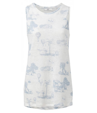 Yaya Jersey linen singlet with story print