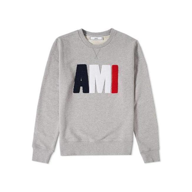 AMI Tricolour Classic Crew Sweat Grey