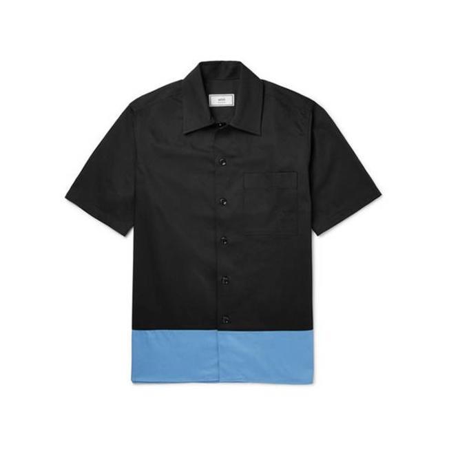 AMI Camp Collar Short Sleeve Shirt Black