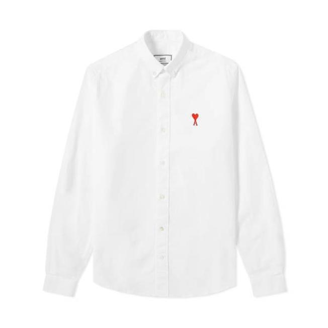 AMI Button Down Chest Embroidery Plain Oxford White
