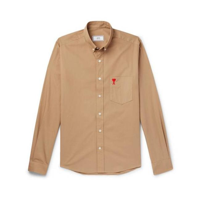 AMI Button Down Chest Embroidery Camel