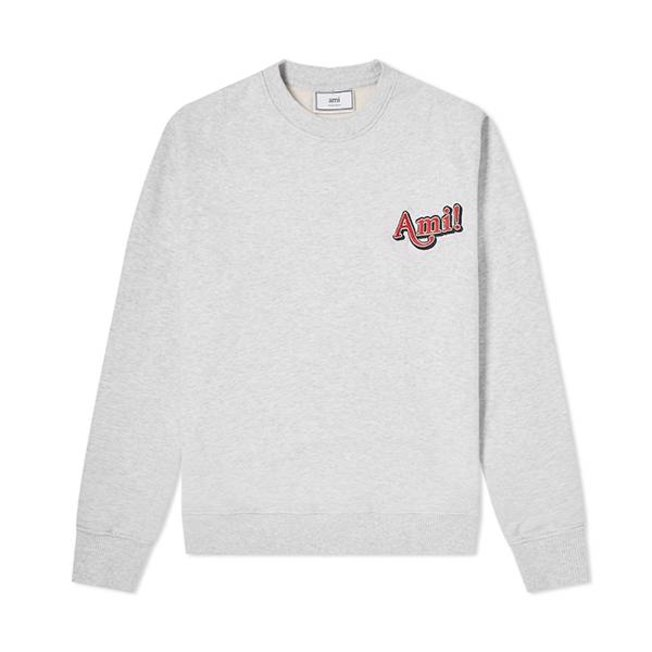 AMI Embroidered Text logo Sweat Heather Grey