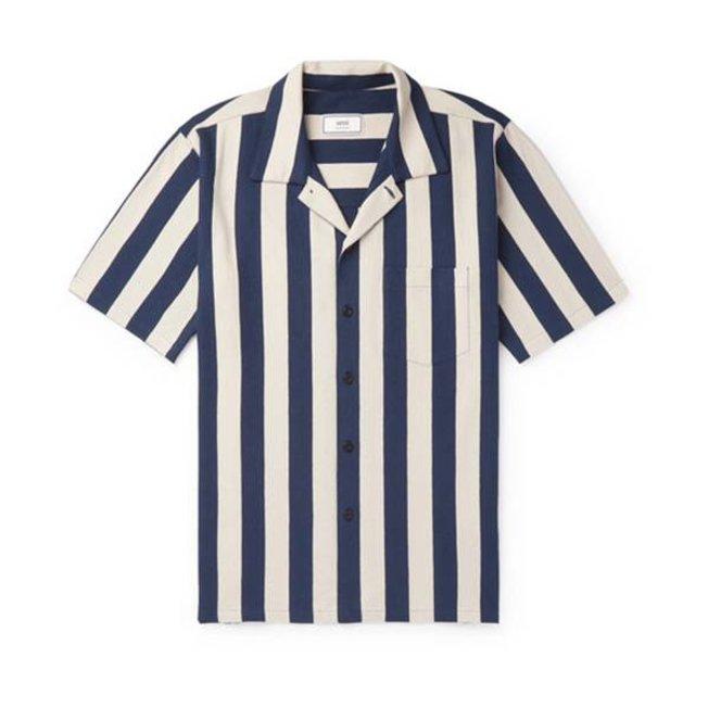 AMI Striped Shirt Navy White
