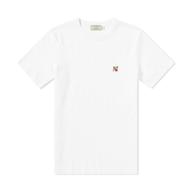T-Shirt Tricolor Fox Head Patch White