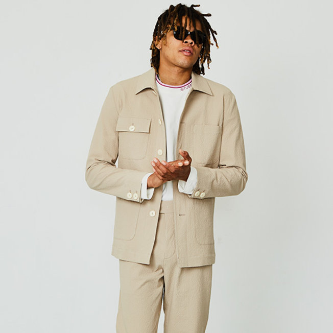 MK Plain Seersucker Worker Jacket Beige