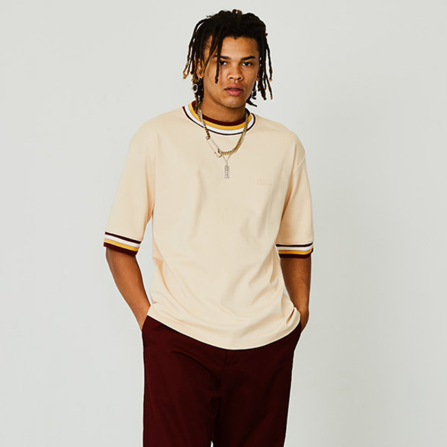 DDM Striped Colar T-shirt Creme
