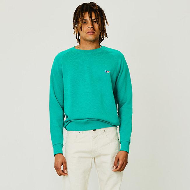 Sweatshirt Tricolor Fox Patch Green