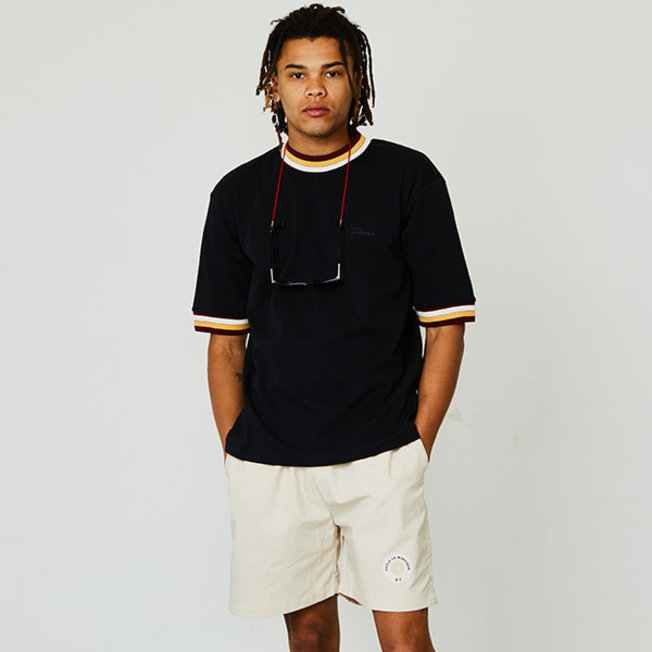 DDM Striped Colar T-shirt Black