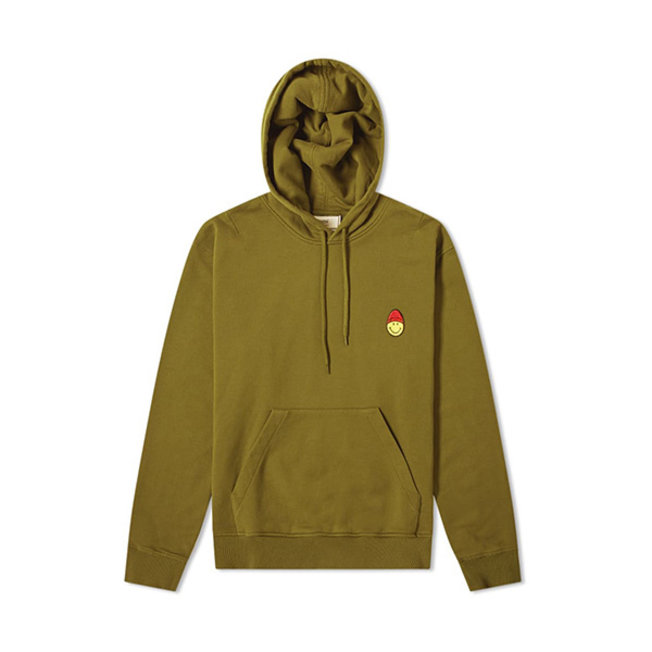 Smiley Patch Hoodie Olive