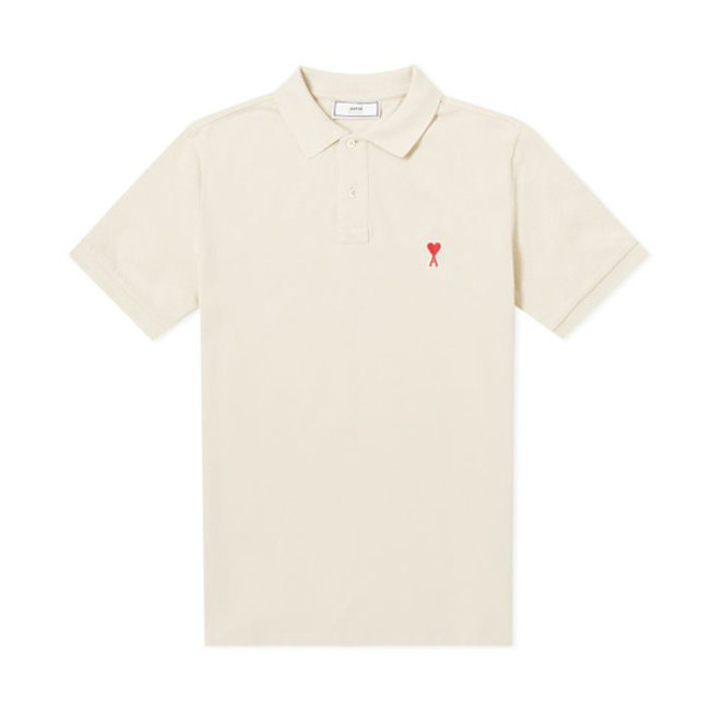 AMI Heart Logo Polo Off White