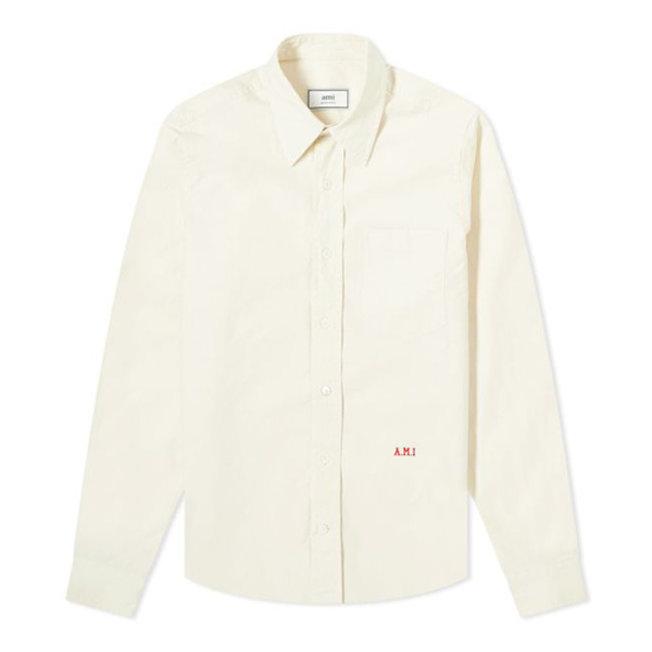 AMI Monogrammed Shirt Off White