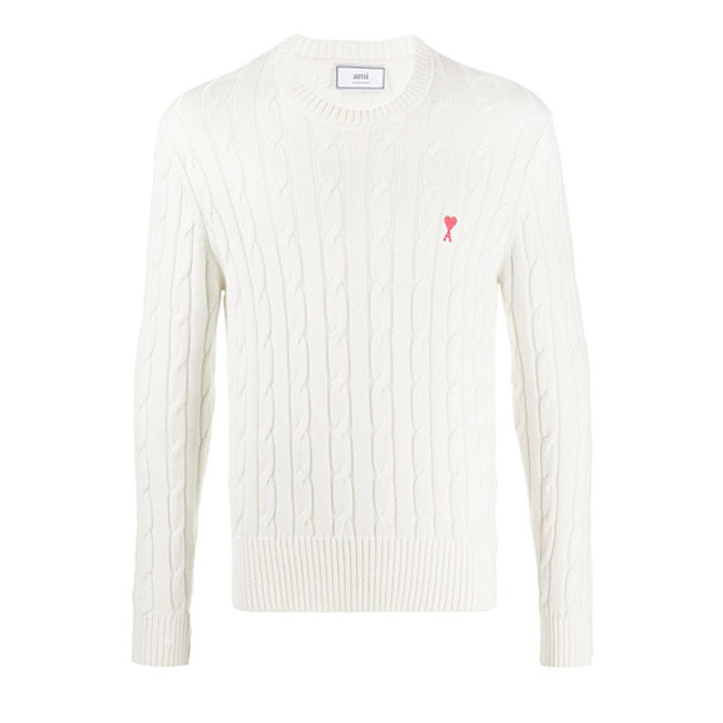 AMI Small A Heart Cable Knit Sweater Off White