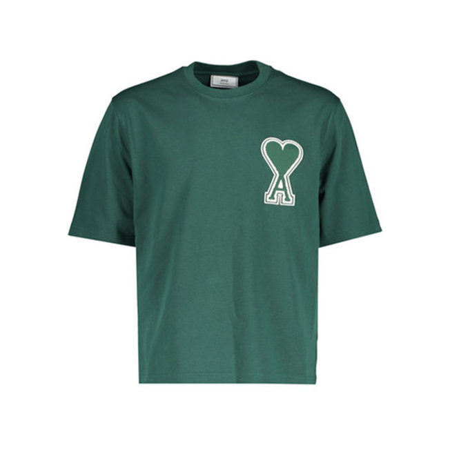 AMI Large Applique A Heart Tee Green