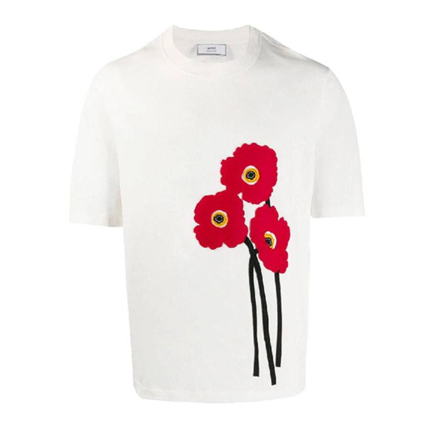AMI Paris Poppy T-shirt Off White