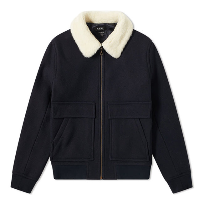 A.P.C. Bronze Shearling Collar Jacket Dark Navy