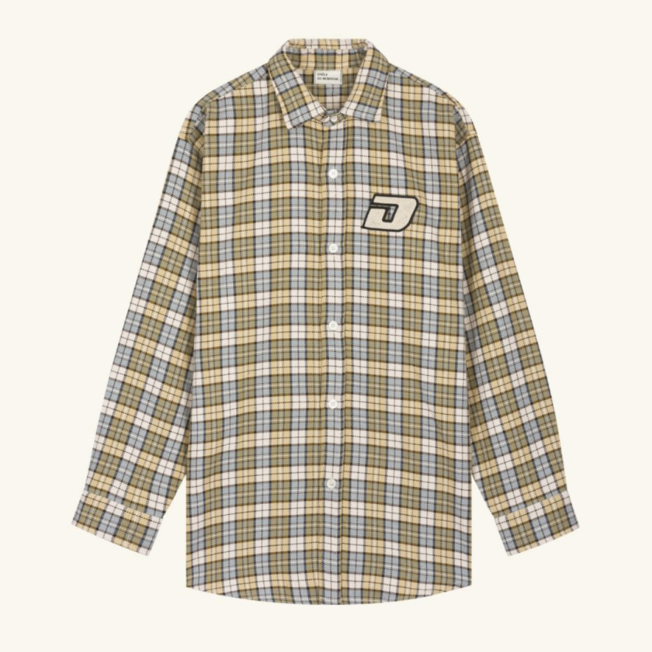 DDM Patched Oversize Shirt Checked Blue
