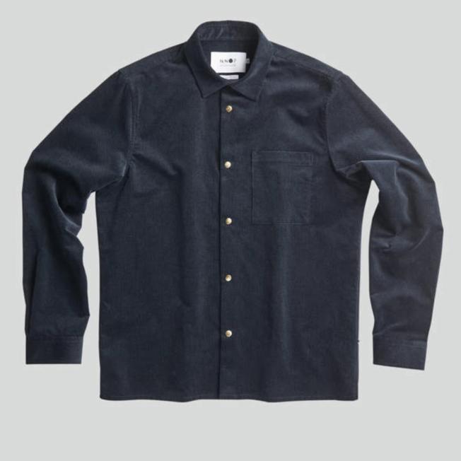 Basso 1427 Corduroy Overshirt Navy Blue