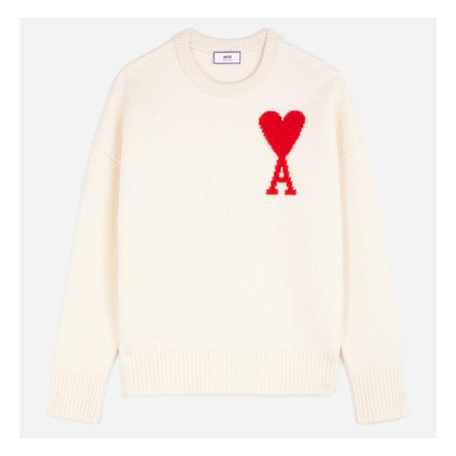 AMI Crewneck Oversize Sweater Off White