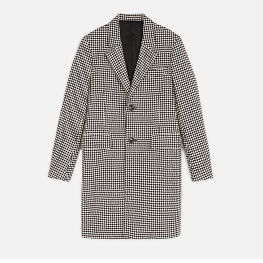 AMI Paris AMI Two Buttons Coat Wool Houndstooth Black Off White