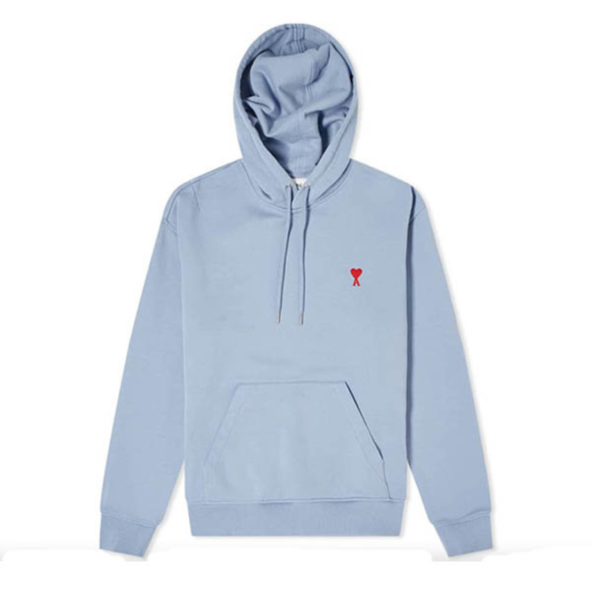 AMI Paris AMI Small A Heart Popover Hoody Light Blue