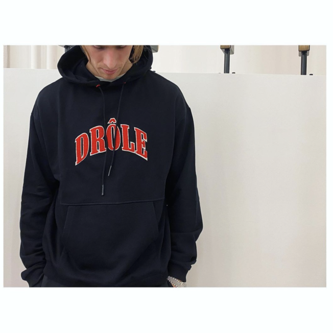 Drole Embroidered Hoodie Black