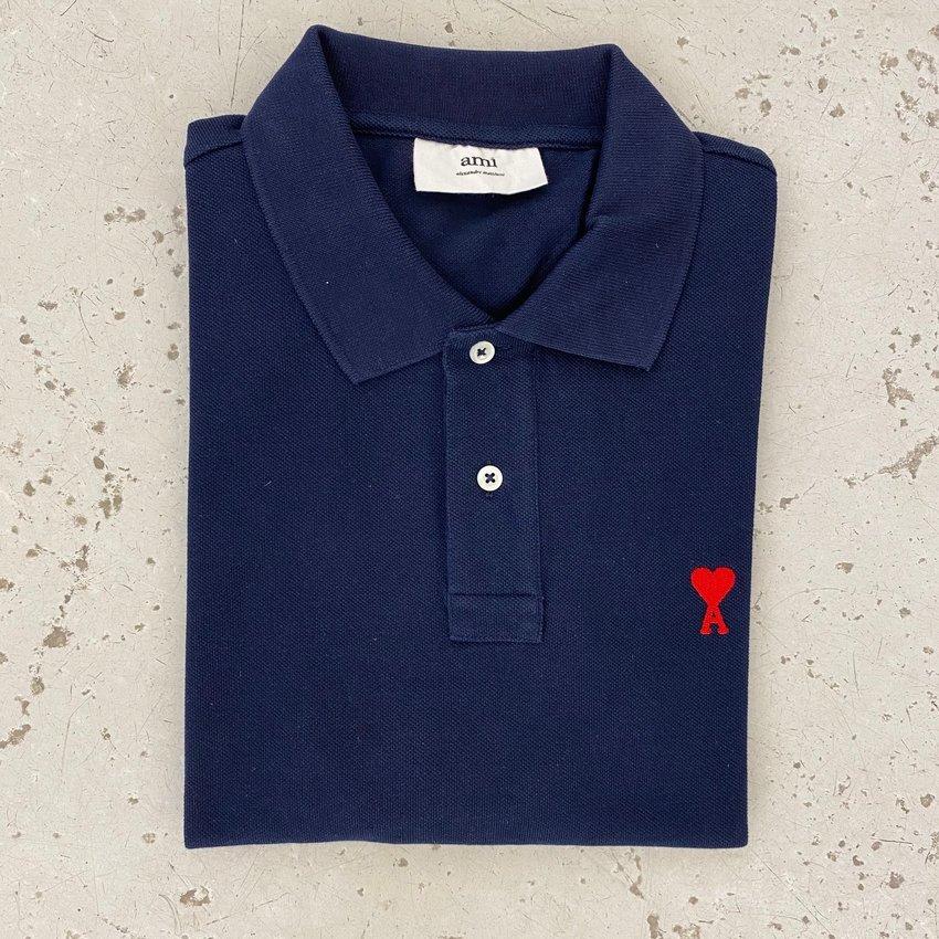 AMI Paris AMI de Coeur Polo Shirt Navy