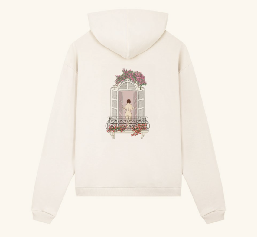 Drole De Monsieur Balcony Graphic Hoodie Off White