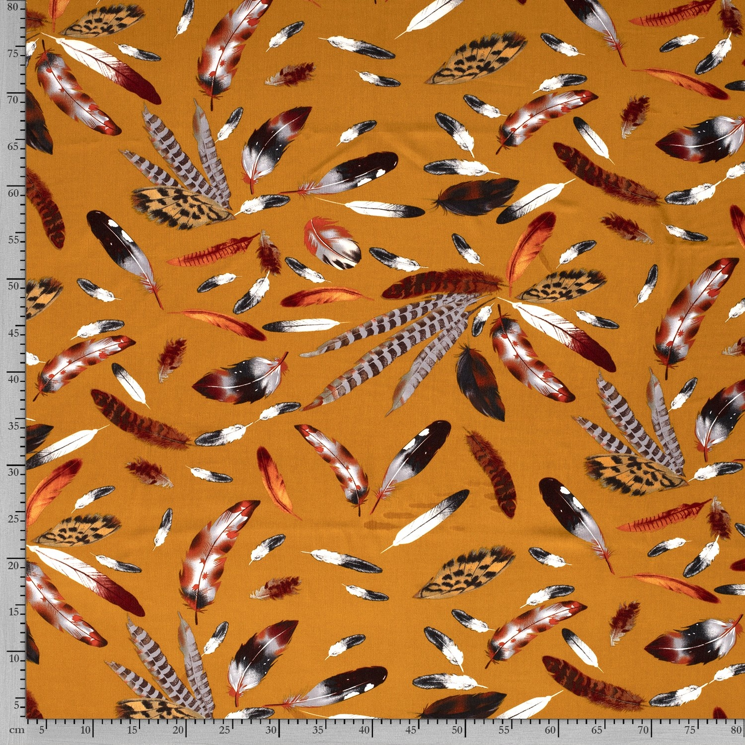 Nooteboom Textiles Viscose Crepe Yoryu Print Feathers Ochre