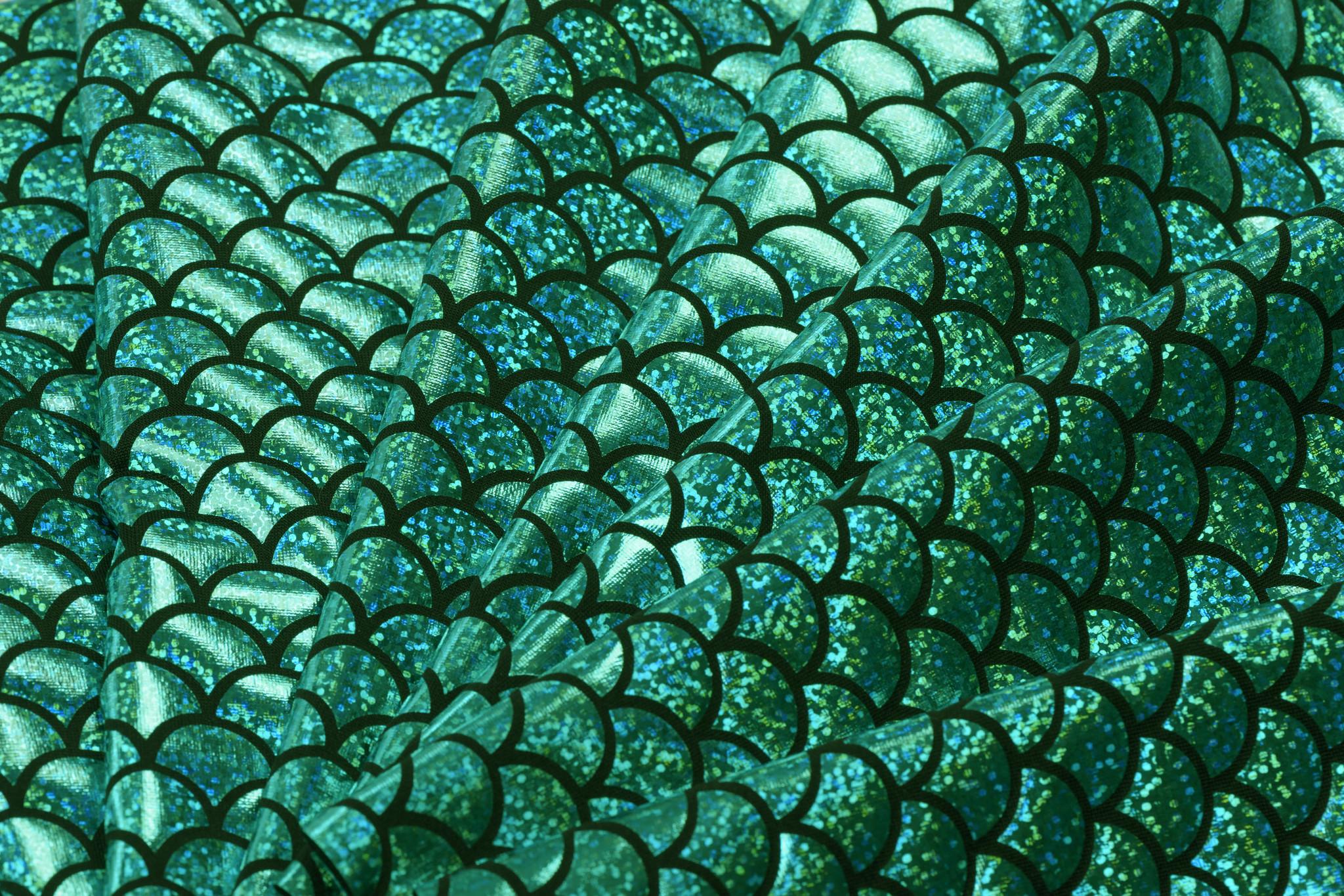 Lycra bedrukt met groene schubben