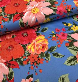 Stretch Katoen Flowers Blue