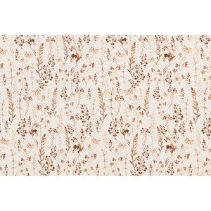 Jersey Katoen Digitale Print - Gedroogde Bloemen Licht Bruin