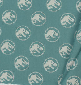 Katoen Poplin Jurassic World Dark Green