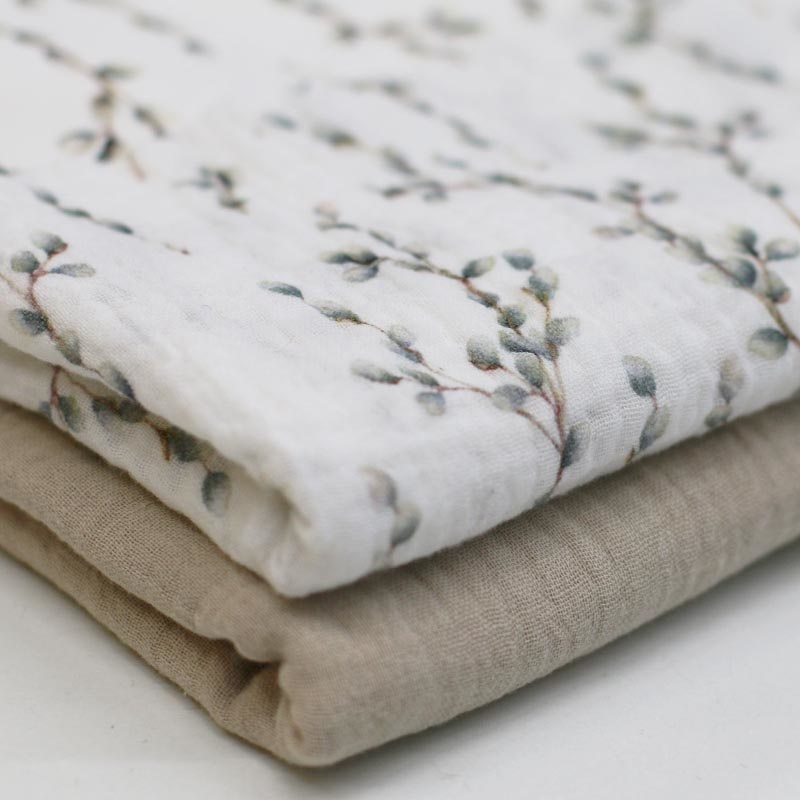 Baby Cotton / Hydrofiel Stof Digitale Print - Katjes Wilgentak