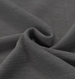 Ottoman Rib Jersey Stof Dark Grey Melange