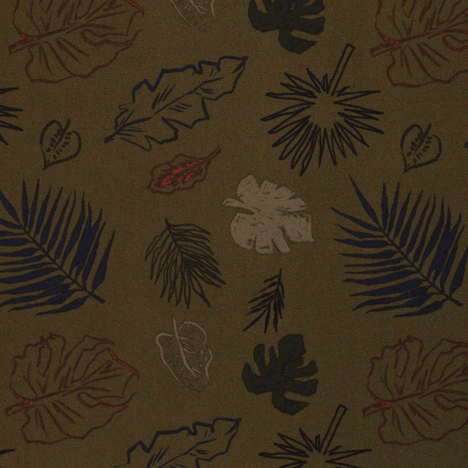 Nooteboom Textiles Crepe Print Plants Dark Green