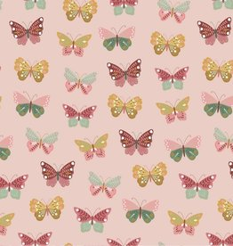 by Poppy designed for you Katoen Poplin Happy Feelings Butterfly Light Old Rose
