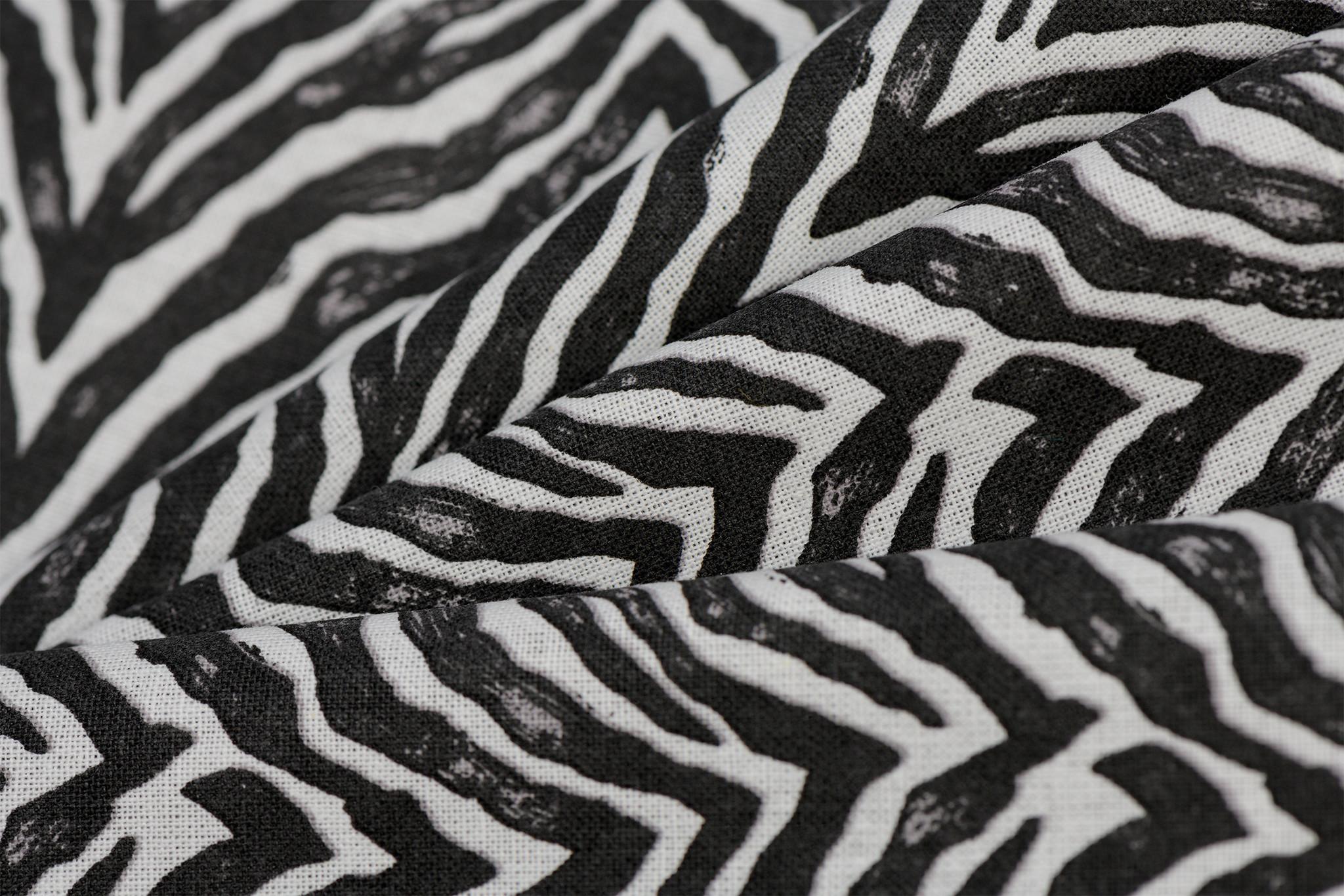 Katoen Zebra Skin Off White / Black