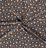 Nooteboom Textiles Viscose Jersey Discharge Print Dots Taupe Brown