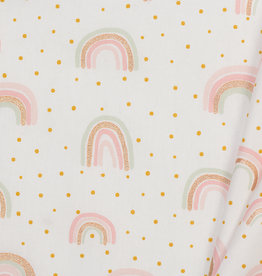 by Poppy designed for you Katoen Poplin Glitter Rainbow White
