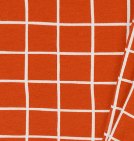 by Poppy designed for you GOTS French Terry Brushed Grid Terracotta